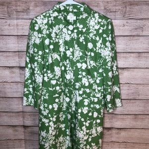 Ann Taylor Loft Spring Green White Floral Trench